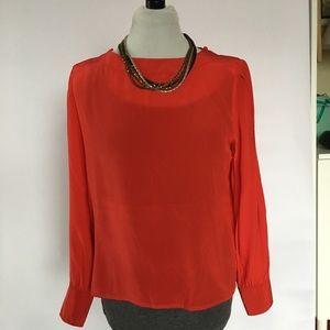 Vintage Red 100% silk blouse with cuffed wrists